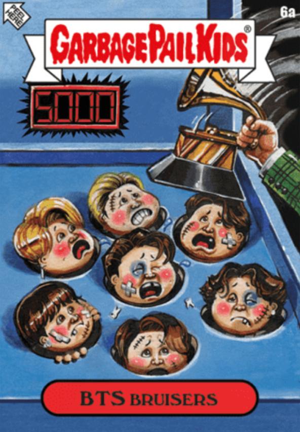 Fanoušky rozhořčila karikatura ukazující zmlácené členy kapely (zdroj: topps.com)