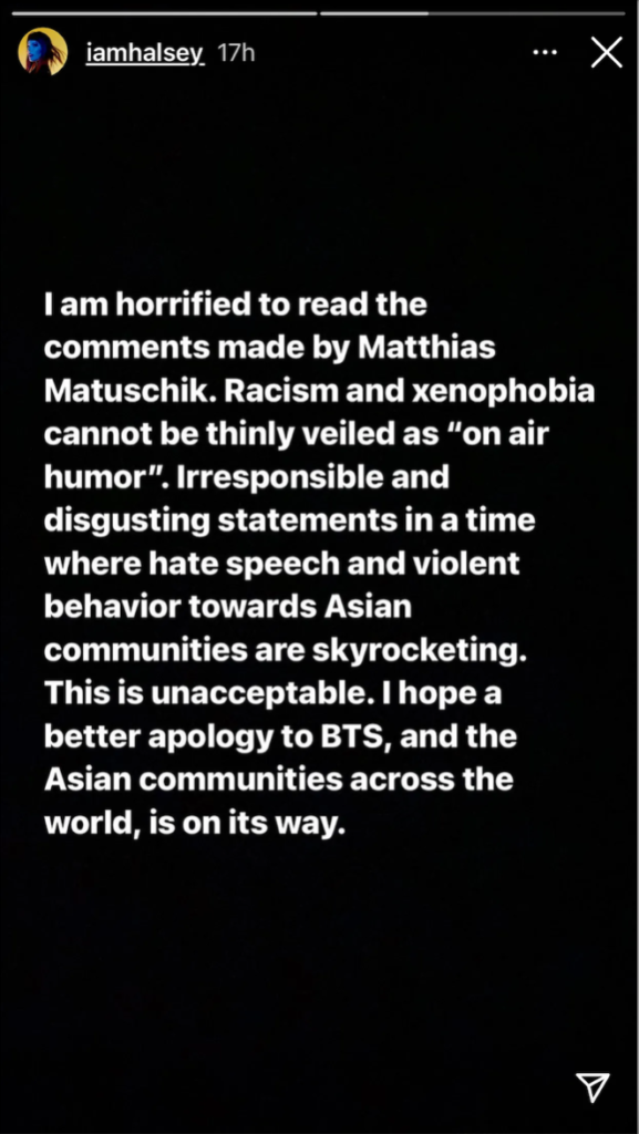 Z instagramového příběhu zpěvačky Halsey. (https://www.instagram.com/iamhalsey/)
