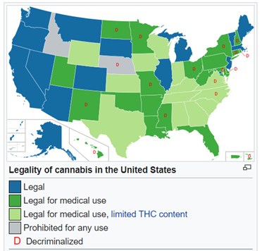 Přehled o legálnosti konopí v USA